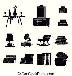 Vector illustration of equipment and household sign. Collection of equipment and interior stock symbol for web.