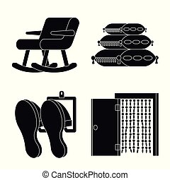 Vector illustration of equipment and household symbol. Set of equipment and interior stock symbol for web.
