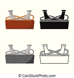 Vector illustration of equipment and moored symbol. Set of equipment and bollard stock symbol for web.