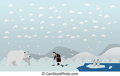 Vector illustration of eskimo and polar bear in flat style