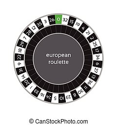 Vector illustration of european roulette wheel isolated on white background