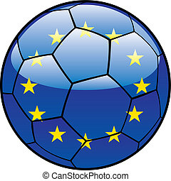 European Union flag on soccer ball - vector illustration of...