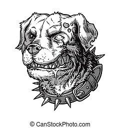 Vector illustration of evil mad dog grinning teeth