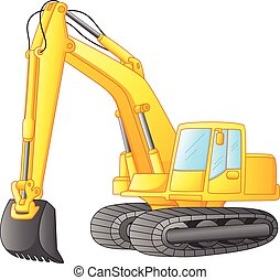 excavator isolated on white - Vector illustration of ...