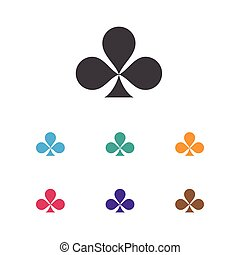 Vector Illustration Of Excitement Symbol On Clubs Icon. Premium Quality Isolated Shamrock Element In Trendy Flat Style.