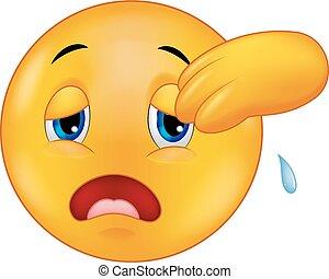 Vector illustration of Exhausted emoticon smiley cartoon