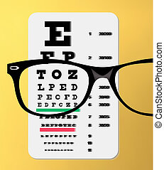 eyeglasses over snellen eye chart - vector illustration of...