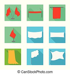 Vector illustration of fabric and white icon. Collection of fabric and presentation stock symbol for web.