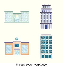 Vector illustration of facade and building icon. Collection of facade and exterior stock symbol for web.