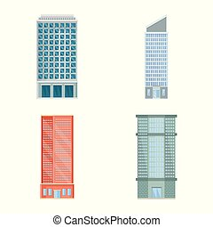 Vector illustration of facade and building icon. Collection of facade and exterior stock vector illustration.