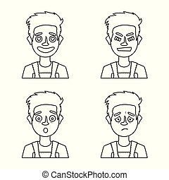 Vector illustration of face and boy icon. Set of face and avatar stock symbol for web.