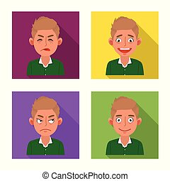 Vector illustration of face and boy icon. Set of face and expression stock symbol for web.