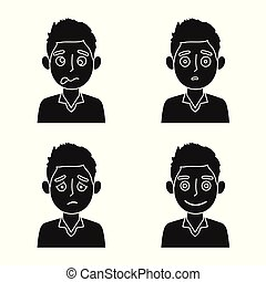 Vector illustration of face and boy icon. Set of face and young stock symbol for web.
