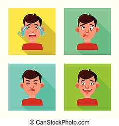 Vector illustration of face and boy sign. Collection of face and human stock symbol for web.