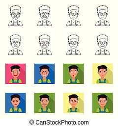Vector illustration of face and boy sign. Set of face and expression stock symbol for web.