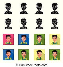 Vector illustration of face and boy symbol. Set of face and expression stock symbol for web.