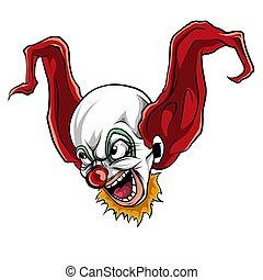 vector illustration of face evil killer clown