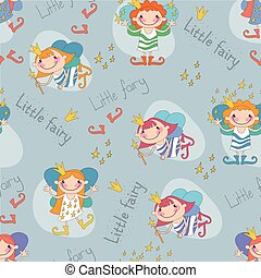 Vector illustration of fairies on a blue background. The little