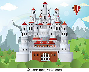 Fairytale castle - Vector illustration of Fairytale castle ...