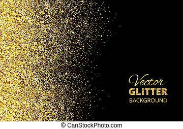 Vector illustration of falling glitter confetti, golden...