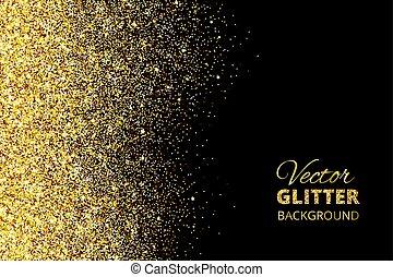 Vector illustration of falling glitter confetti, golden dust...