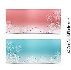 Christmas banners with snow