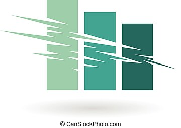 Falling Stats Abstract Icon - Vector Illustration of Falling...