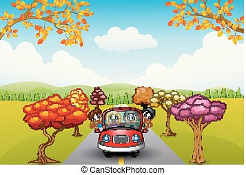 Families drive in autumn