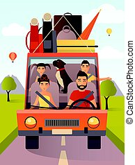 Vector illustration of family traveling by car in flat style
