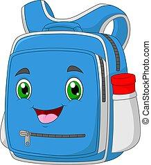 Fanny cartoon bagschool smiling face