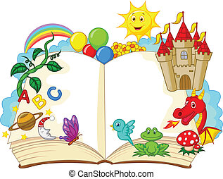 Vector illustration of Fantasy book cartoon