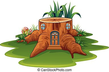 Fantasy house with grass and mushroom