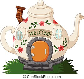 Fantasy teapot houses cartoon - Vector illustration of...