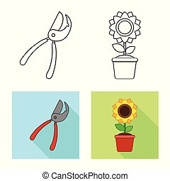 Vector illustration of farm and agriculture icon. Collection of farm and plant stock symbol for web.