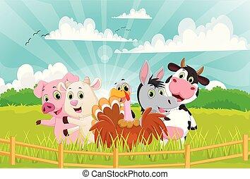 Illustration of Farm Animals cartoon