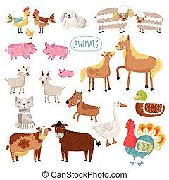 Vector illustration of farm animals.