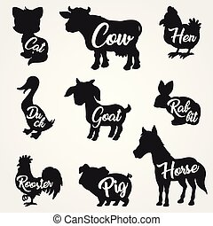 Farm animals silhouettes collection with text