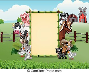Farm animals with a blank sign bamboo