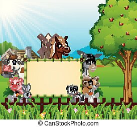Farm animals with a blank sign board