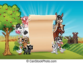 Farm animals with a blank sign paper
