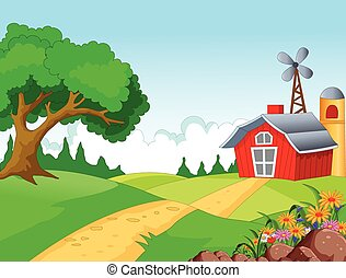 Farm background for you design - vector illustration of Farm...