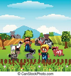 Farm background with farmers and farm animals activities,