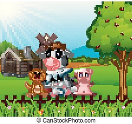 Farm background with happy animals