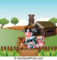 Farm Background with the get together animals in front of...