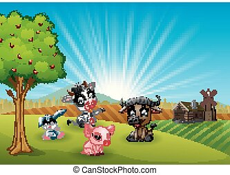 Farm cartoon animals in the morning