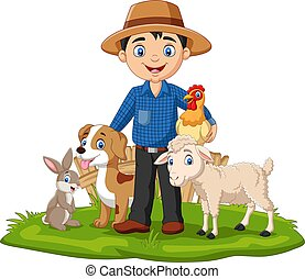 Farmer with farm animals in the grass