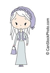 Vector illustration of fashion long hair girl with dress
