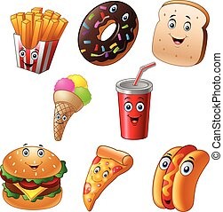 Fast food cartoon collection set