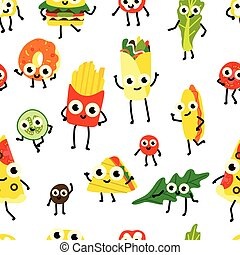 Vector illustration of fast food seamless pattern with various meals and vegetables cartoon characters.