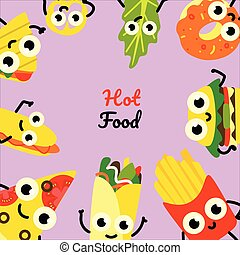 Vector illustration of fast food square banner with frame of hot and tasty full meals and vegetables cartoon characters